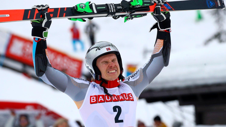 Norway's Henrik Kristoffersen celebrates at the finish area after winning an alpine ski, men's World Cup giant slalom, in Alta Badia, Italy, Sunday, Dec. 22, 2019.