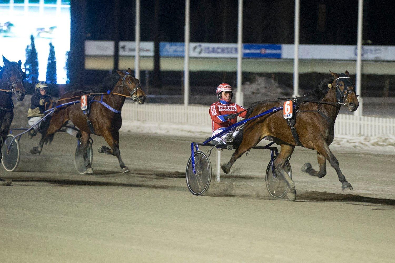 Biri11012019. Memphis Tennessee EP E.P. og kusk Åsbjørn Tengsareid vant 2.løp Gransprinsens løp.