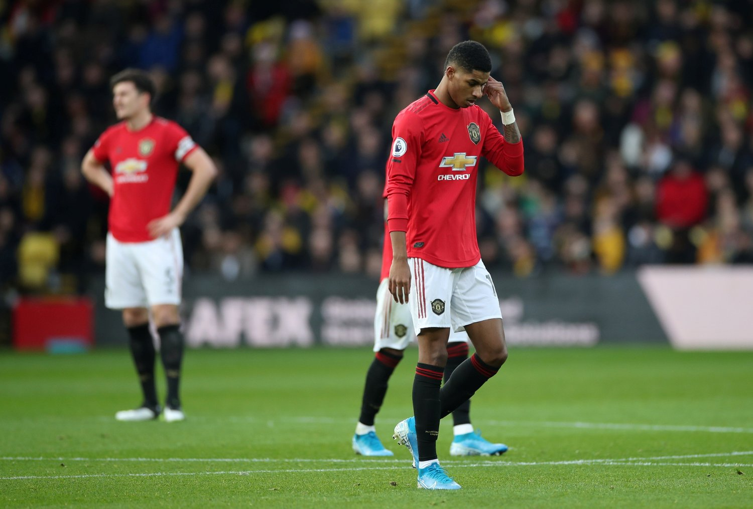 Soccer Football - Premier League - Watford v Manchester United - Vicarage Road, Watford, Britain - December 22, 2019 Manchester United's Marcus Rashford reacts REUTERS/David Klein EDITORIAL USE ONLY. No use with unauthorized audio, video, data, fixture lists, club/league logos or