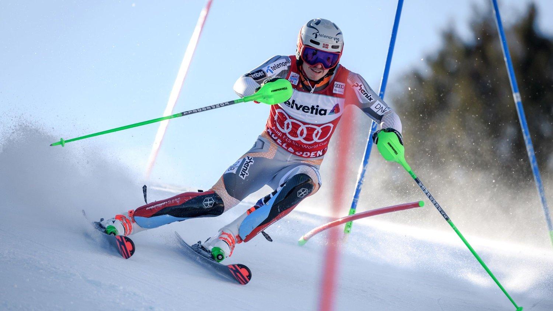 I FARTA: Henrik Kristoffersen kjørte seg opp fra sin 8. plass.