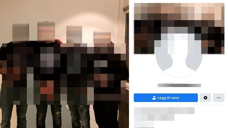 TILTALTE MED GJENGMEDLEMMER: Den tiltalte 21-åringens Facebook-side prydes av et bilde av ham og kjente gjengmedlemmer. Den tiltalte står helt til høyre i bildet. Den kjente voldskriminelle står som nummer to fra venstre. Tirsdag ble et vitne forulempet etter en forklaring mot tiltalte.