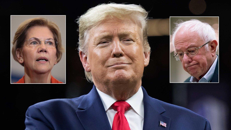 President Donald Trump godter seg over at de demokratiske kandidatene Elizabeth Warren og Bernie Sanders nå går i tottene på hverandre: Elizabeth er veldig sinna på Bernie. Ser vi starten på en feide? skriver president Donald Trump på Twitter.