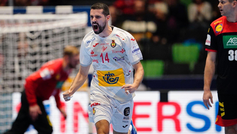 Trondheim 20200111. Jubel fra Spanias Ferran Sole Sala under gruppespillet i håndball EM for menn mellom Spania og Tyskland i Trondheim Spektrum.