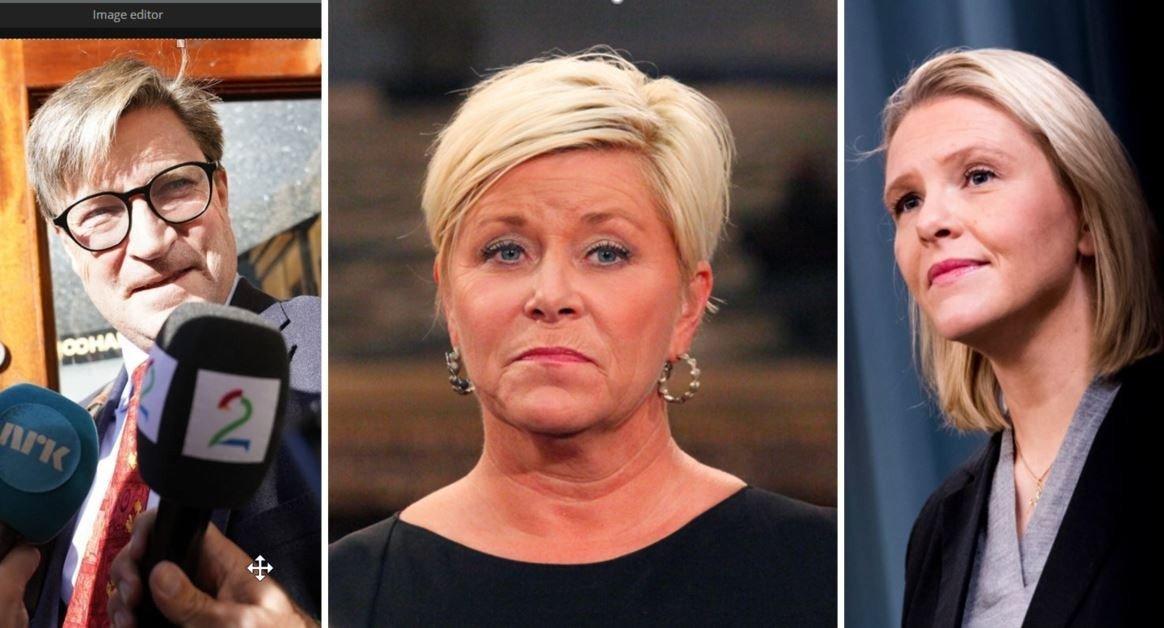 portretter av Christian Tybring-Gjedde, Siv Jensen og Sylvi Listhaug