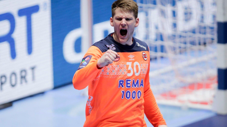 Trondheim 20200114. Torbjørn S. Bergerud jubler under kampen mellom Portugal og Norge.