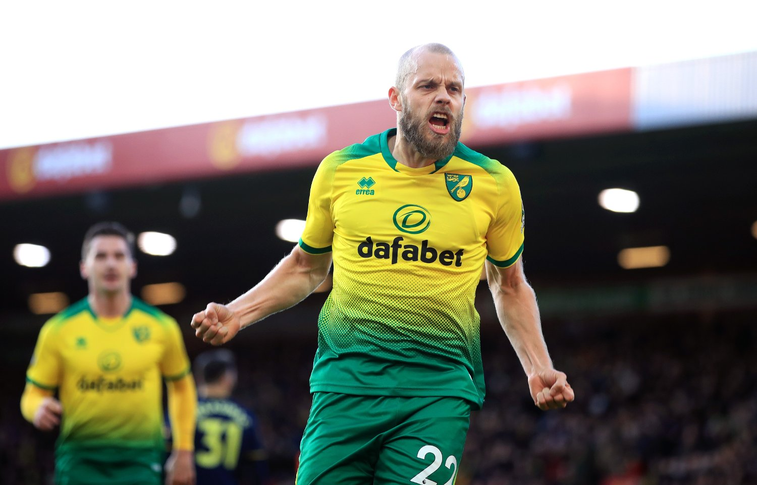 Norwich City's Teemu Pukki celebrates scoring his sides first goal during the Premier League match at Carrow Road, Norwich.