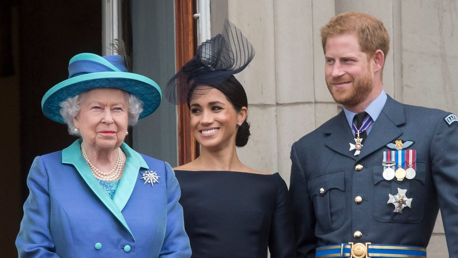 RAF centenary Countess of Wessex, Prince of Wales, the Duchess of Cornwall, Queen Elizabeth II, Duchess of Sussex, Duke of Sussex, Duke of Cambridge, and the Duchess of Cambridge on the balcony at Buckingham, Palace where they watched a Royal Air Force flypast over central London to mark the centenary of the Royal Air Force..