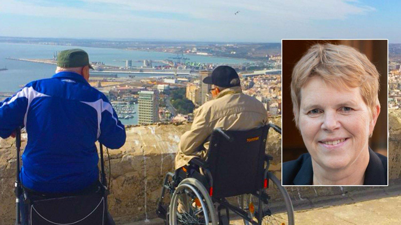 Eldre i rullestol ved Vistamar i Spania, innfelt gruppeleder hos Høyre, Ingrid Skjøtskift.