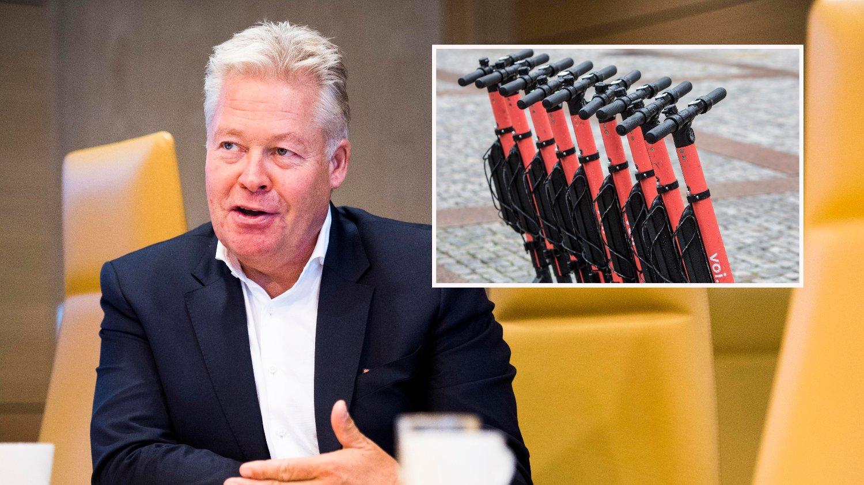 SKAPER UTFORDRINGER: Mer bruk av elektrisitet - som el-sparkesykler - kan bety høyere forsikringspremier, ifølge konsernsjef Helge Leiro Baastad i Gjensidige.