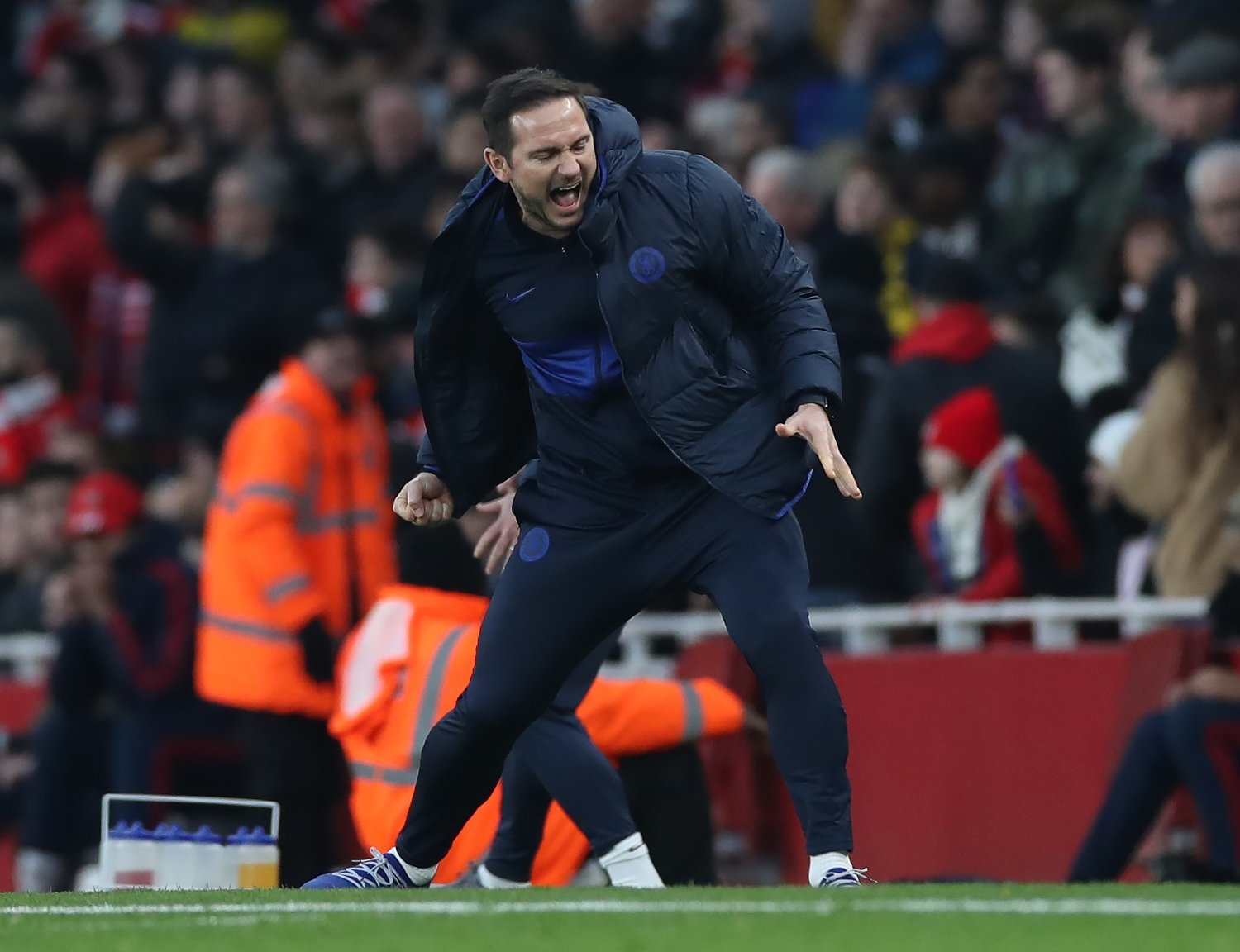 Frank Lampard manager of Chelsea reacts to the winning goal during the Premier League match at the Emirates Stadium, London. Picture date: 29th December 2019. Picture credit should read: David Klein/Sportimage via PA Images