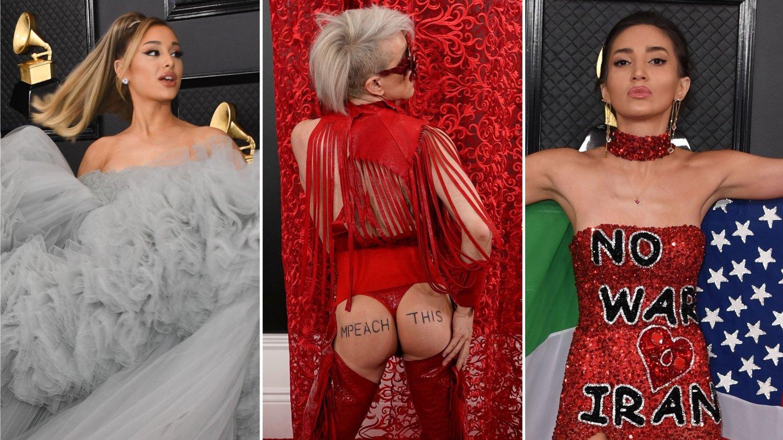 VILLE ANTREKK: Ariana Grande, Ricky Rebel og Megan Pormer sto for de villeste antrekkene under årets Grammy-utdeling.