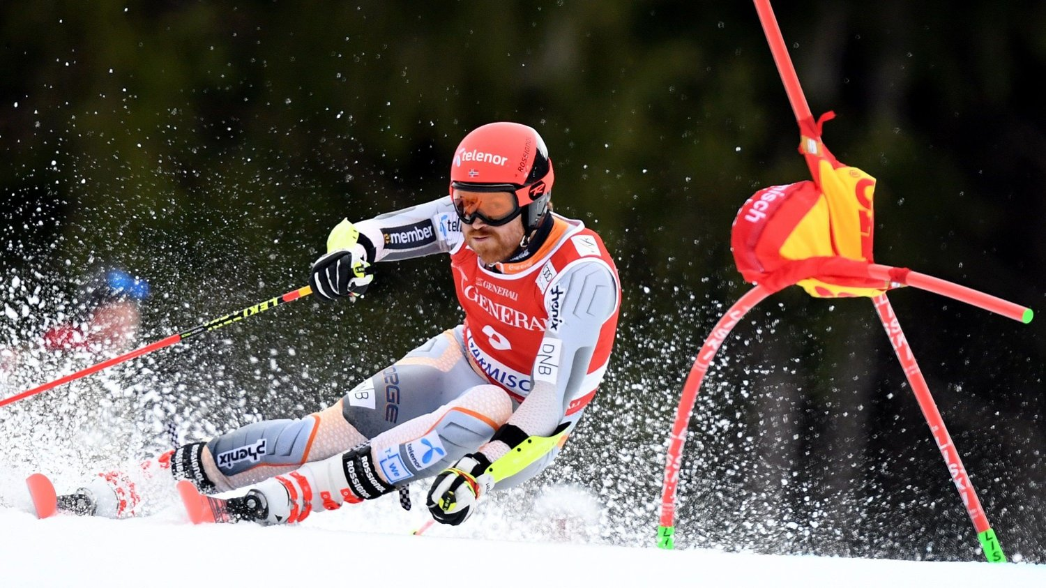 Norway's Leif Kristian Nestvold-Haugen competes in the men's Giant Slalom event at the FIS Alpine Men's Skiing World Cup in Garmisch-Partenkirchen, southern Germany, on February 2, 2020.