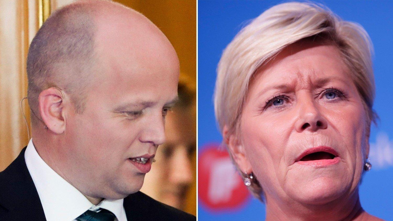 Trygve Slagsvold Vedum til venstre. Siv Jensen til høyre.