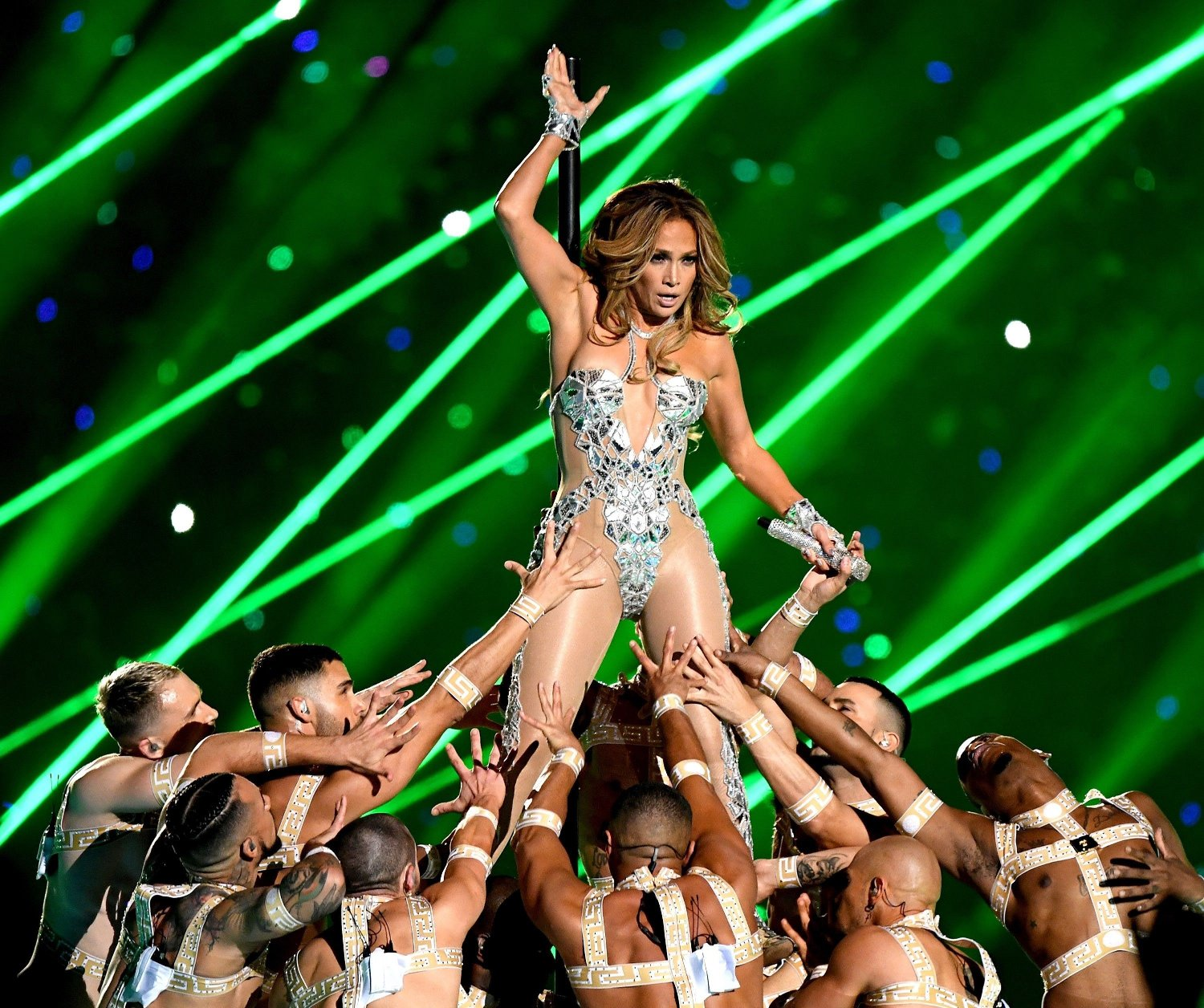 Pepsi Super Bowl LIV Halftime Show MIAMI, FLORIDA - FEBRUARY 02: Jennifer Lopez performs onstage during the Pepsi Super Bowl LIV Halftime Show at Hard Rock Stadium on February 02, 2020 in Miami, Florida. Kevin Winter/Getty Images/AFP == FOR NEWSPAPERS, INTERNET, TELCOS & TELEVISION USE ONLY ==