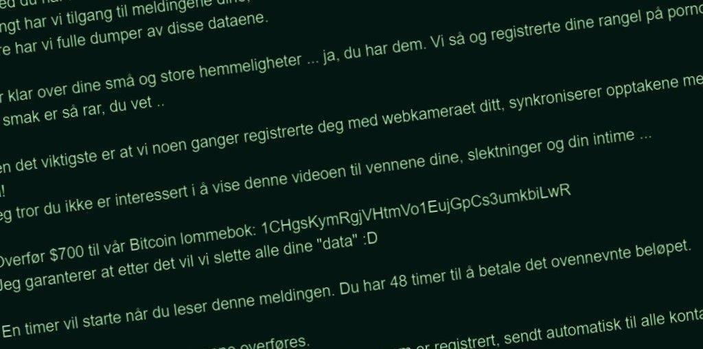 PORNOSVINDEL: Et stort antall nordmenn fikk pornosvindeltrusler som dette på epost i 2019 og var i tvil om de skulle ta den på alvor.