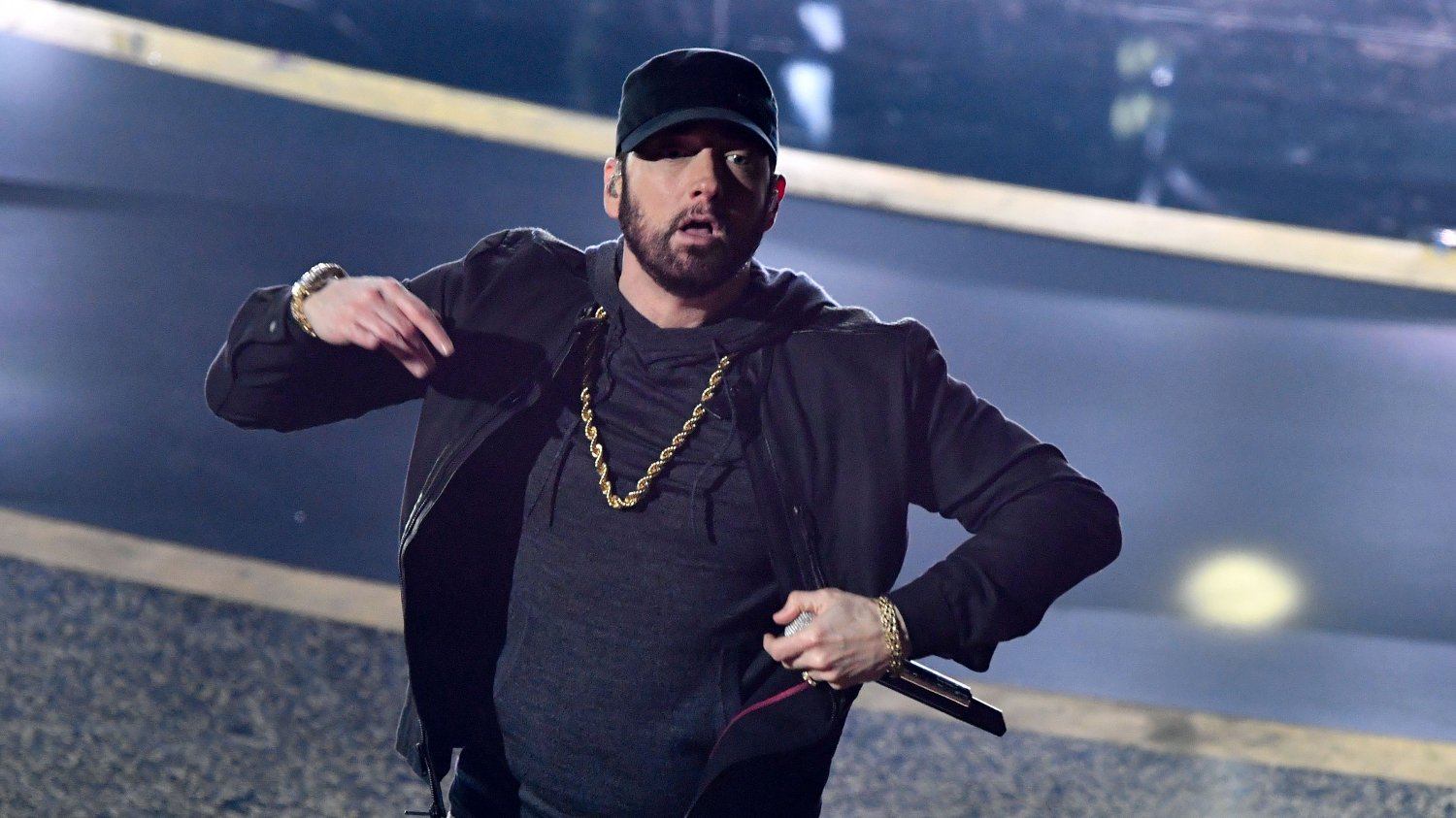 92nd Annual Academy Awards - Show US rapper Eminem performs onstage during the 92nd Oscars at the Dolby Theatre in Hollywood, California on February 9, 2020.