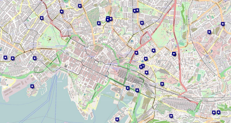 Kartet viser oversikt over ledige parkeringsplasser i Oslo, hos tjenesten Nettavisen Parkering.