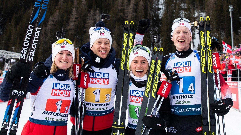 ANTHOLZ, ITALIA 20200213. Norge med Marte Olsbu Røiseland, Tiril Kampenhaug Eckhoff, Tarjei Bø og Johannes Thingnes Bø gikk inn til en første plass i blandet stafett 4x6 km