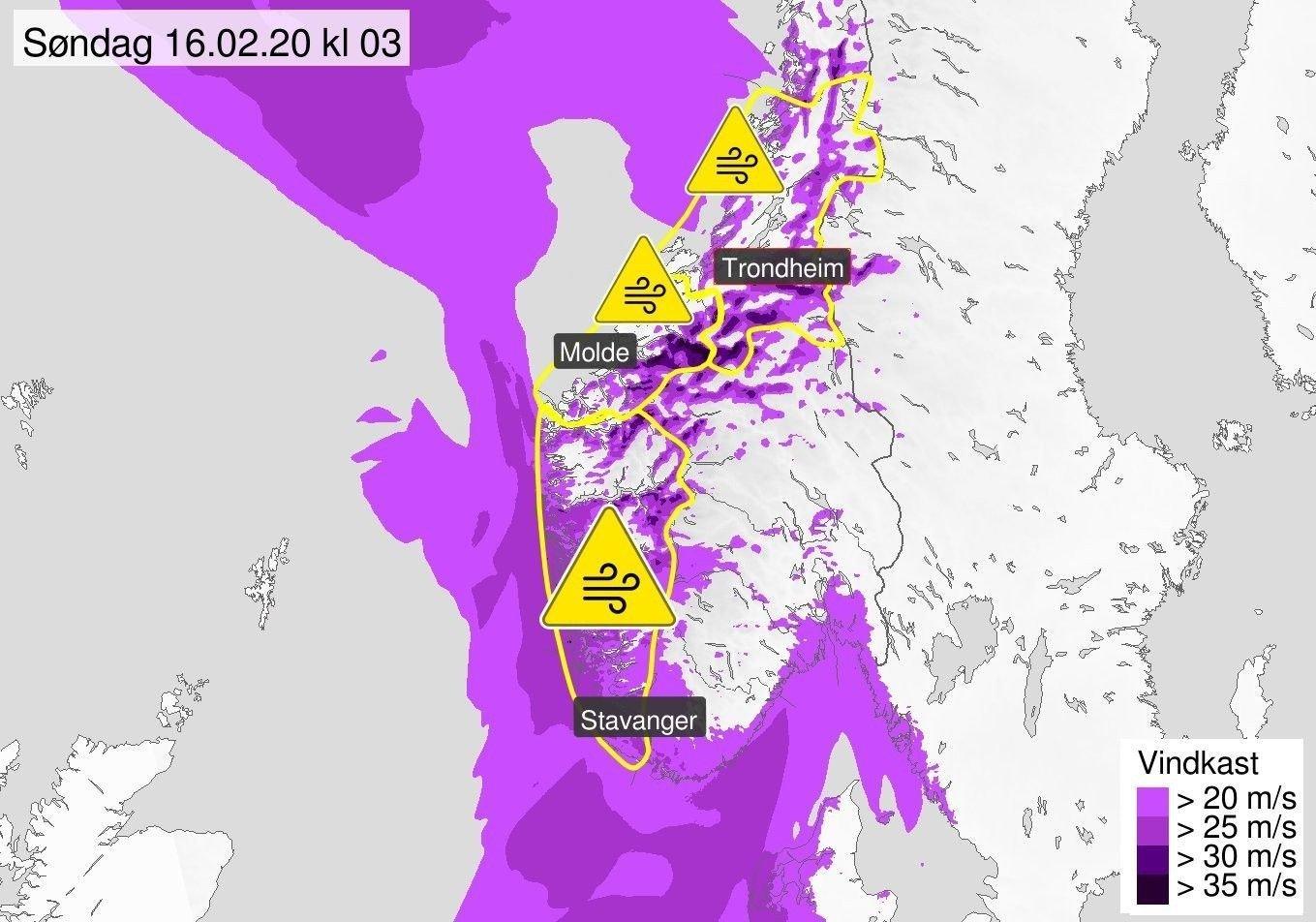 FAREVARSEL: Lørdag kveld øker det på med vind fra sør og sørvest, melder Meteorologisk institutt. Det er sendt ut gult farevarsel for Vestlandet sør for Stad, Møre og Romsdal og Trøndelag.