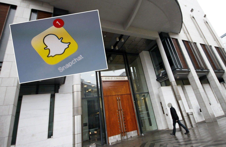 Eksteriørbilde av Oslo tingrett. I tillegg er en logo av Snapchat innfelt.