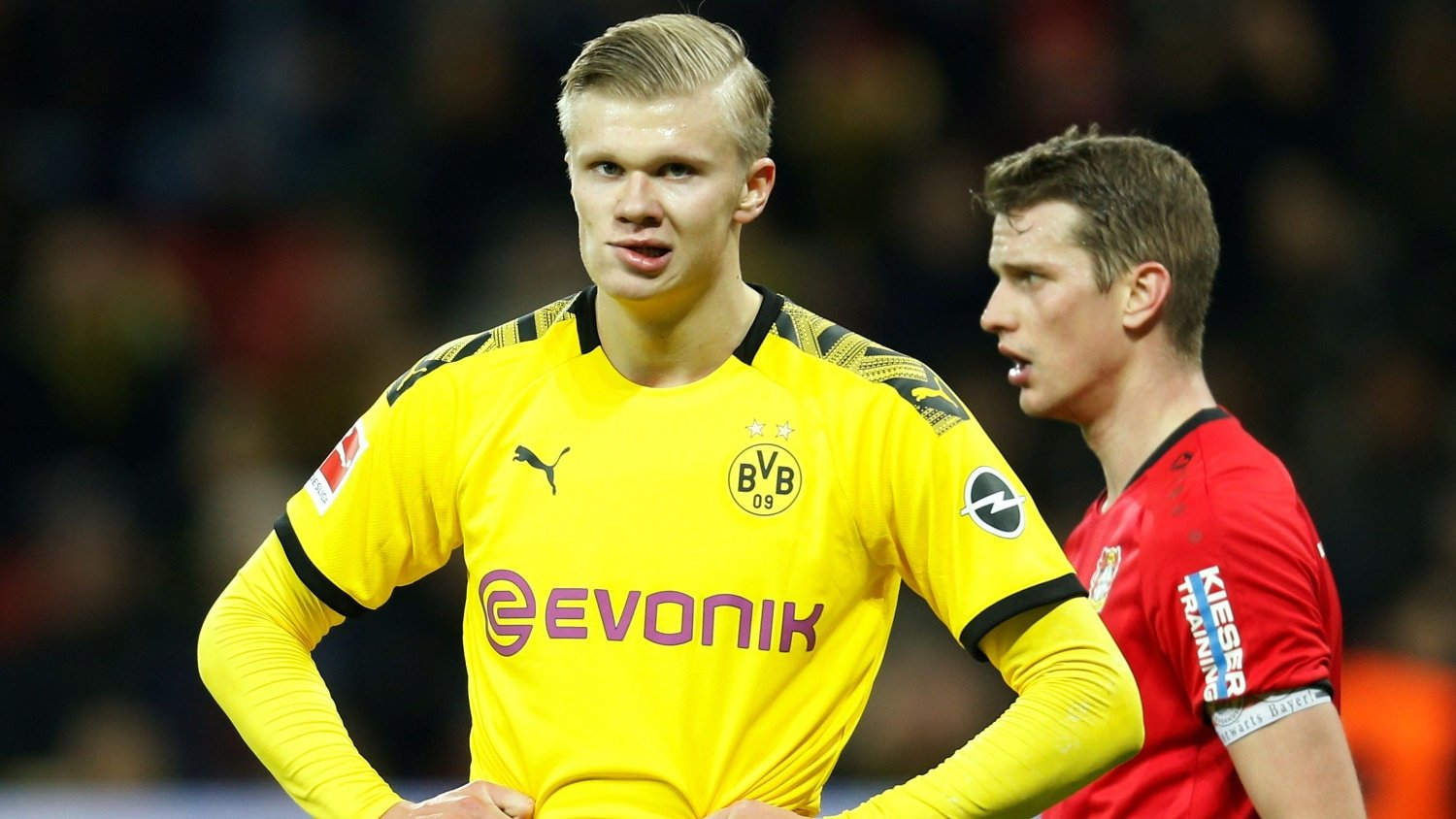 Soccer Football - Bundesliga - Bayer Leverkusen v Borussia Dortmund - BayArena, Leverkusen, Germany - February 8, 2020 Borussia Dortmund's Erling Braut Haaland looks dejected REUTERS/Leon Kuegeler DFL regulations prohibit any use of photographs as image sequences and/or quasi-video