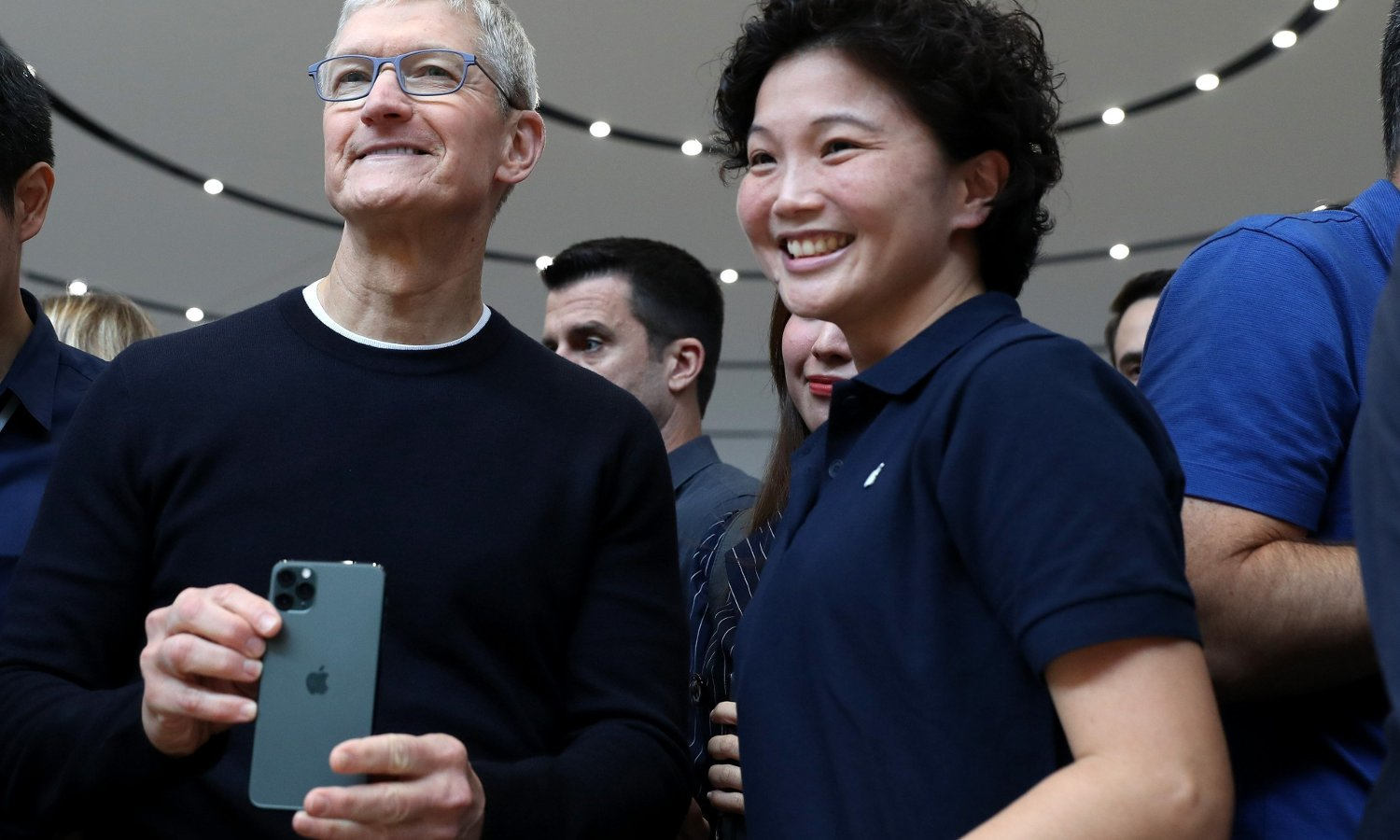 CUPERTINO, CALIFORNIA - SEPTEMBER 10: Apple CEO Tim Cook holds the new Apple iPhone 11 Pro during an Apple special event on September 10, 2019 in Cupertino, California. Apple unveiled several new products including an iPhone 11, iPhone 11 Pro, Apple Watch Series 5 and an updated iPad. Justin Sullivan/Getty Images/AFP == FOR NEWSPAPERS, INTERNET, TELCOS & TELEVISION USE ONLY ==