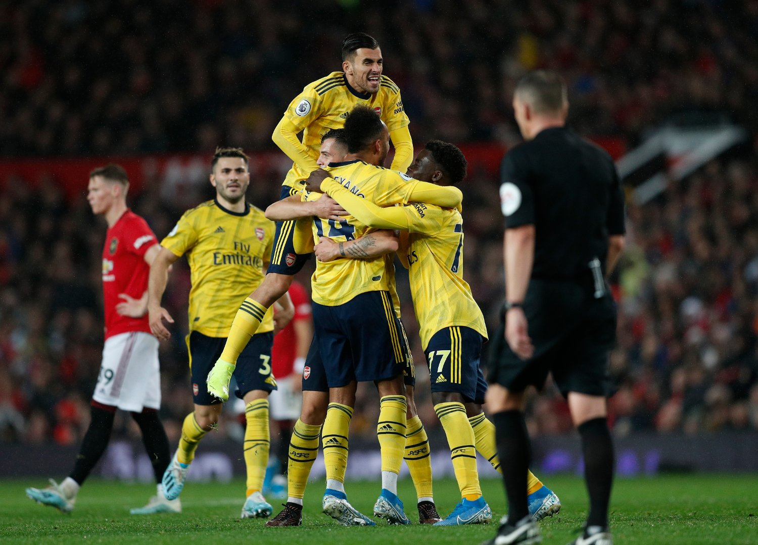 Pierre-Emerick Aubameyang of Arsenal celebrates scoring the equalising goal during the Premier League match at Old Trafford, Manchester. Picture date: 30th September 2019. Picture credit should read: Darren Staples/Sportimage via PA Images