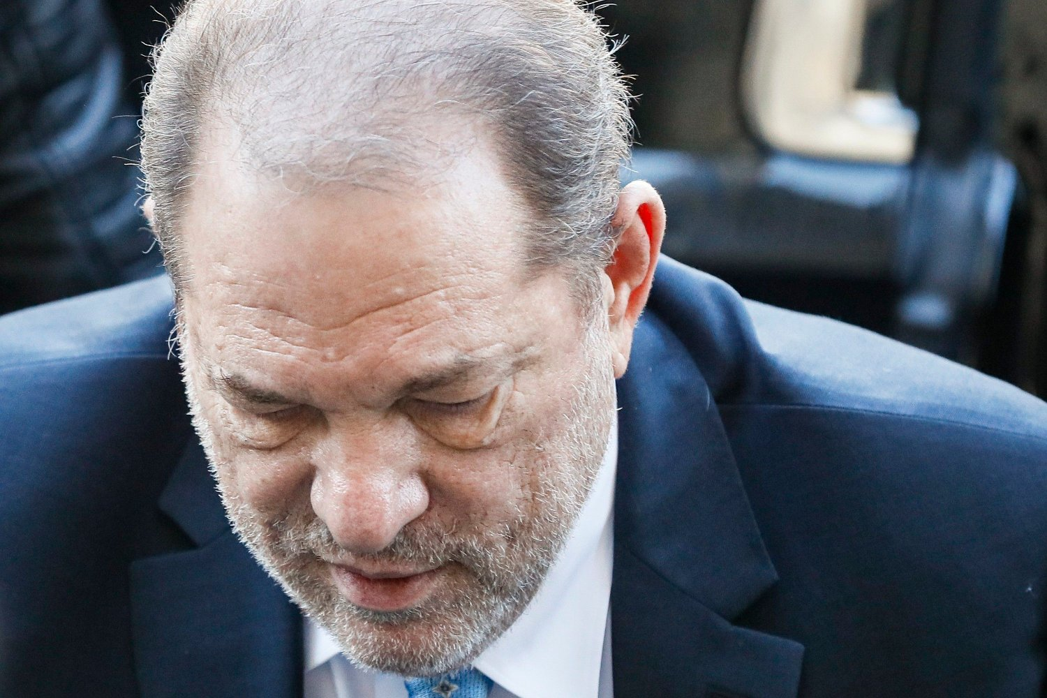 Harvey Weinstein arrives at a Manhattan courthouse for his rape trial, Monday, Feb. 24, 2020, in New York. A jury convicted the Hollywood mogul of rape and sexual assault. The jury found him not guilty of the most serious charge, predatory sexual assault, which could have resulted in a life sentence.