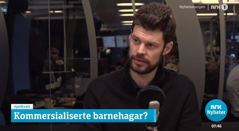 Rødt-leder Bjørnar Moxnes i studio i NRKs Politisk kvarter