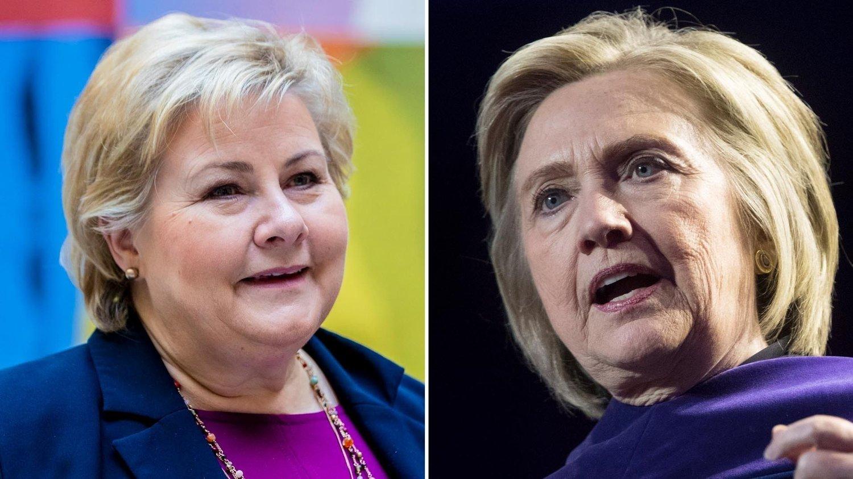 Erna Solberg og Hillary Clinton.