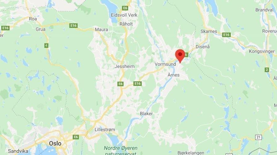 DØDSULYKKE: Ulykken skjedde ved Oppakermoen i Nes kommune.