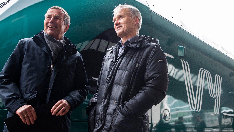 Oslo 20190312. Konsernsjef i NSB Geir Isaksen og styreleder Dag Mejdell presenterer nytt felles navn for NSB og Nettbuss. Det nye navnet er Vy.