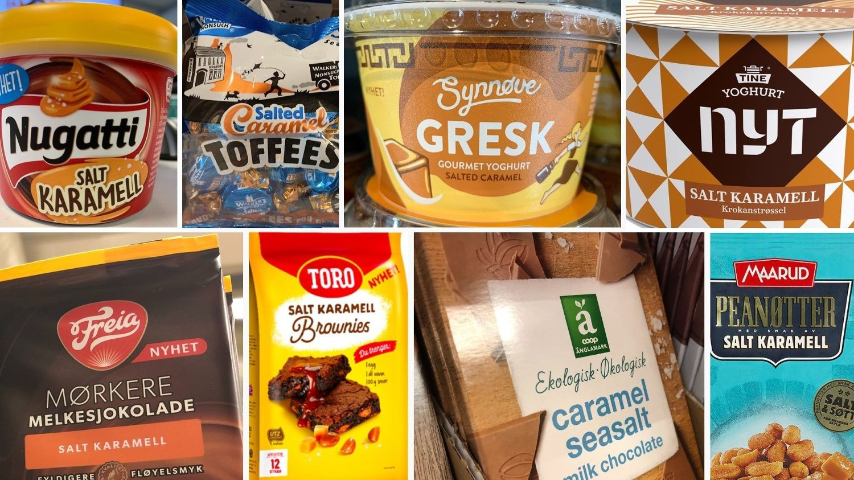 POPULÆRT: Noen av varene som har vært solgt med salt karamell de senere årene.