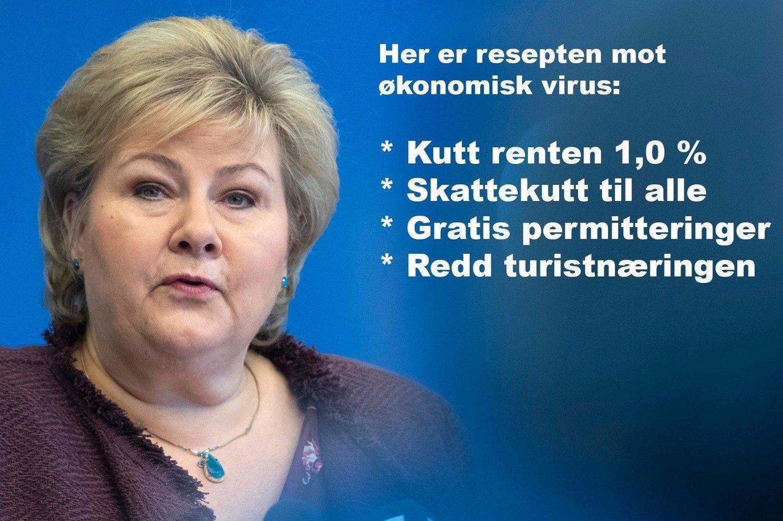 Bilde av Erna Solberg med liste over anbefalte tiltak mot økonomisk virus.