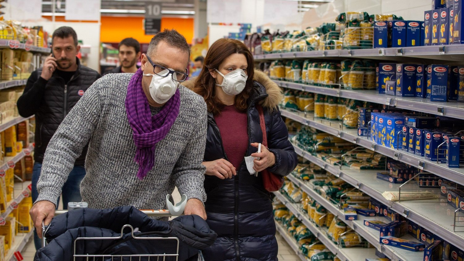 Coronavirus in Italy. Consequences of Corona virus infection in the city. Pictured Masks in supermarkets URN:50730662