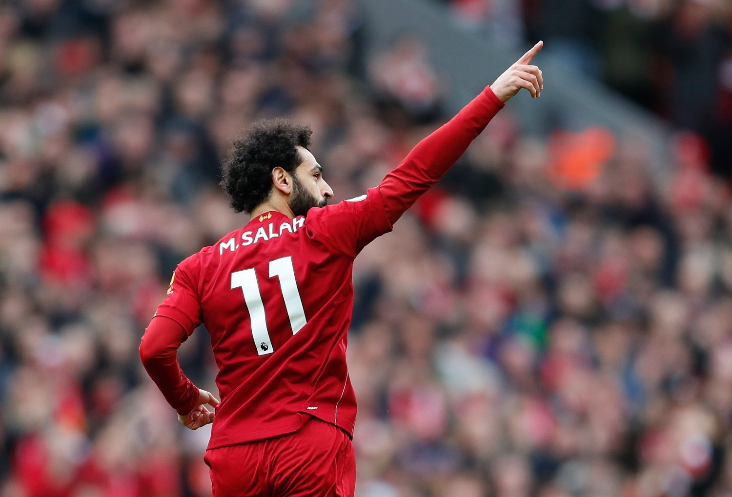 Mohamed Salah of Liverpool celebrates scoring the equaliser during the Premier League match at Anfield, Liverpool. Picture date: 7th March 2020. Picture credit should read: Darren Staples/Sportimage via PA Images