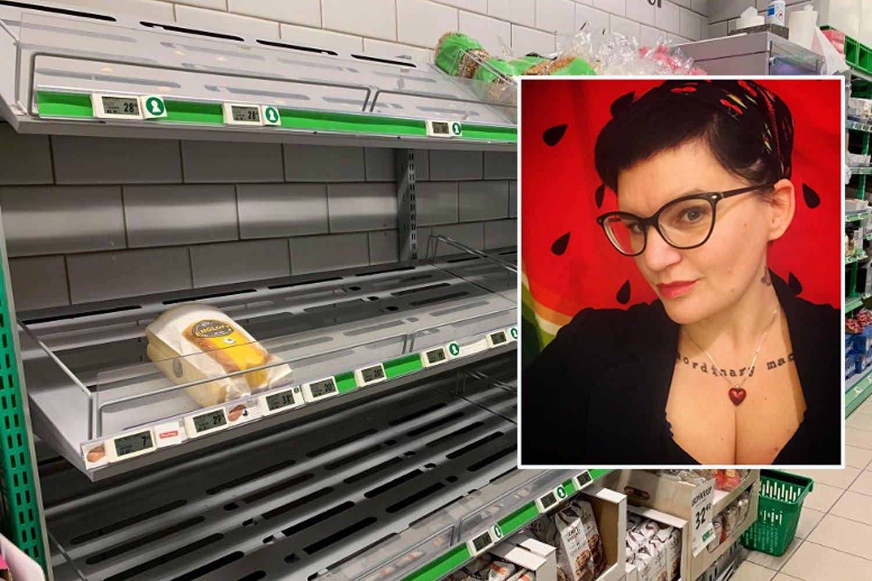 Tomme brødhyller i Kiwi Kværnerbyen i Oslo. Latoya Wang Wendelbo (innfelt) raser over at folk hamstrer billigproduktene i butikken.