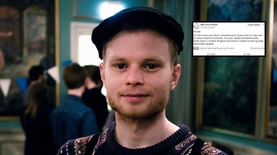 ETTERLYSTE TURVENN: Bård Føsker søkte etter turvenn i disse koronatider på Facebook, men ble møtt med mostand fra enkelte.