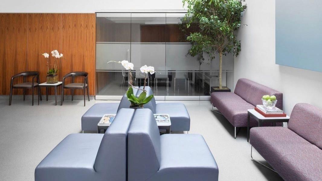 Dette bildet er fra venterommet til legetjenesten Sollis Health i New York .