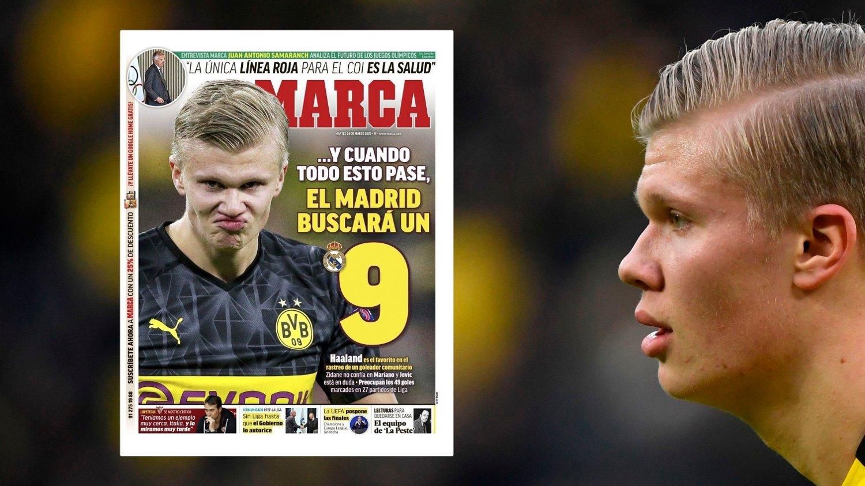 PÅ FORSIDEN: Den spanske storavisen Marcs er klare på at Haaland er mannen Madrid vil ha.