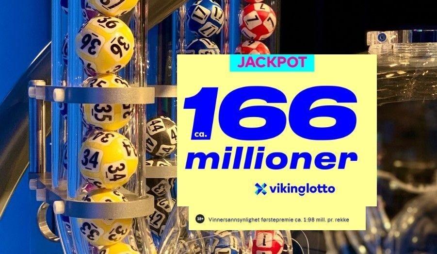 Det er jackpot i Vikinglotto med ca 166 millioner i førstepremiepotten
