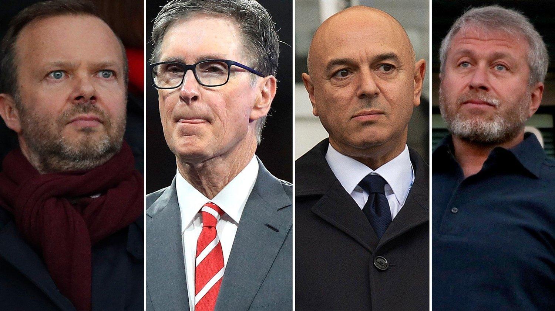 STÅR SAMMEN: Ed Woodward i Manchester United, John Henry i Liverpool, Daniel Levy i Tottenham og Roman Abramovitsj i Chelsea.