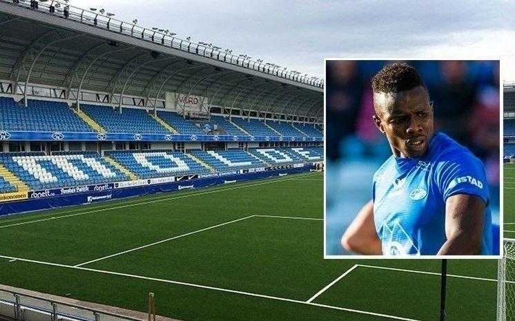Bilde av tom Aker Stadion, hjemmebanen til Molde, og innfelt bilde av Babacar Sarr, tidligere Molde-spiller.