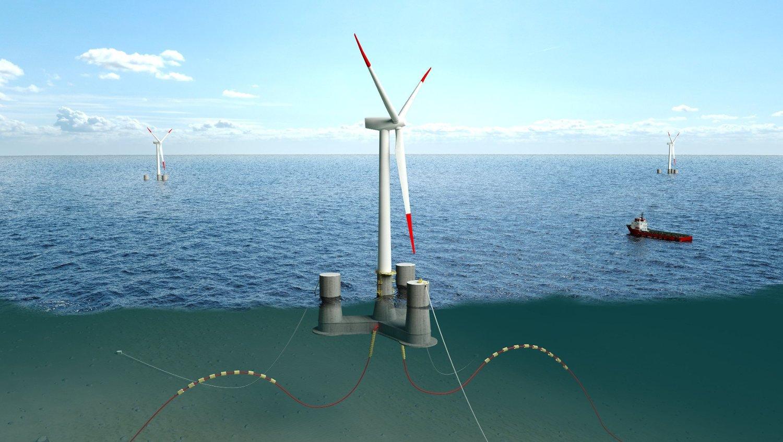 FLYTENDE: Den flytende vindturbinen skal installeres på testfeltet til Metcentre og Sustainable Energy Catapult,10 kilometer vest for Karmøy i Rogaland.