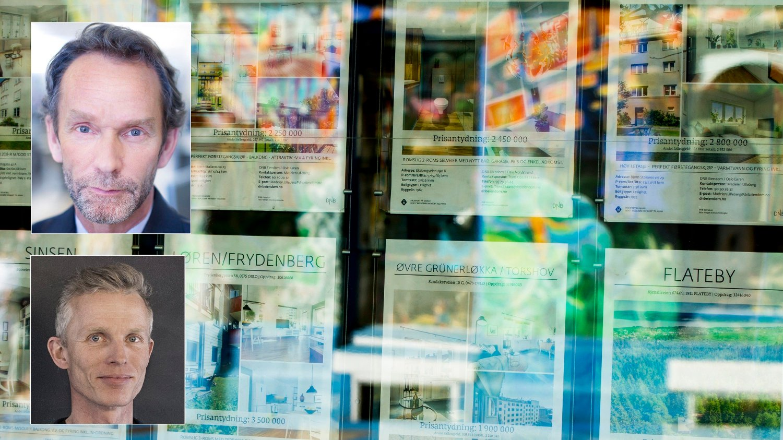 PRISENE GÅR NED: Vedvarende høy ledighet og lav omsetning vil presse boligprisene ned, mener samfunnsøkonomene Hans Magnus Andreassen og Andreas Benedictow .