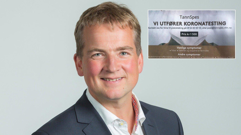 POortrett av Sveinung Stensland med innfelt plakat om koronatest