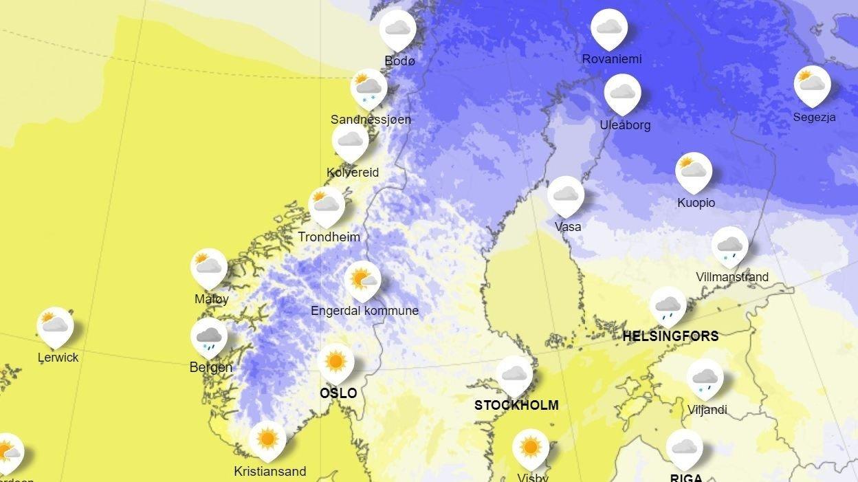 BLIR MILDERE: Lørdag og søndag kommer mildere luft sørfra, og da skifter det til sørlig sirkulasjon over Sør-Norge. Dette systemet drar seg etterhvert nordover, ifølge Meteorologisk institutt.