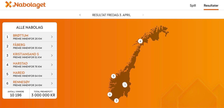 Skjermbilde fra Norsk Tipping sine nettsider. Viser norgeskart av hvor Nabolagets vinnere bor.