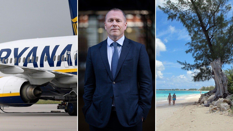 Ryanair, Nicolai Tangen og strand på Grand Cayman.