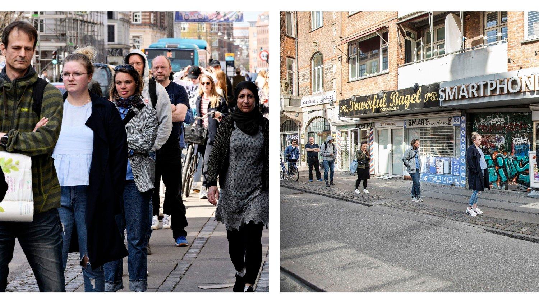 FORSKJELL: Forskjellen er ganske stor her også. Disse folkene står utenfor posthuset på Nørrebrogade i København.